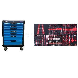 KRW-TTB+SET250 Тележка с 7 ящиками+ инструмент 250 предметов KraftWell