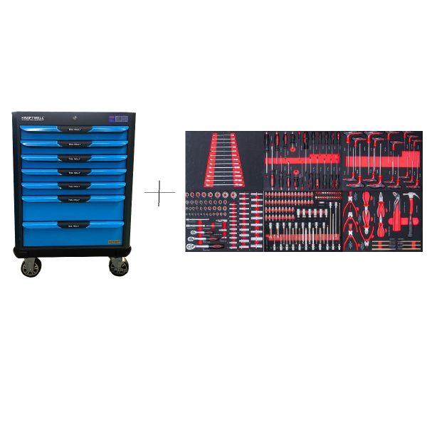 KRW-TTB+SET250 KraftWell Тележка инструментальная с комплектом инструментов